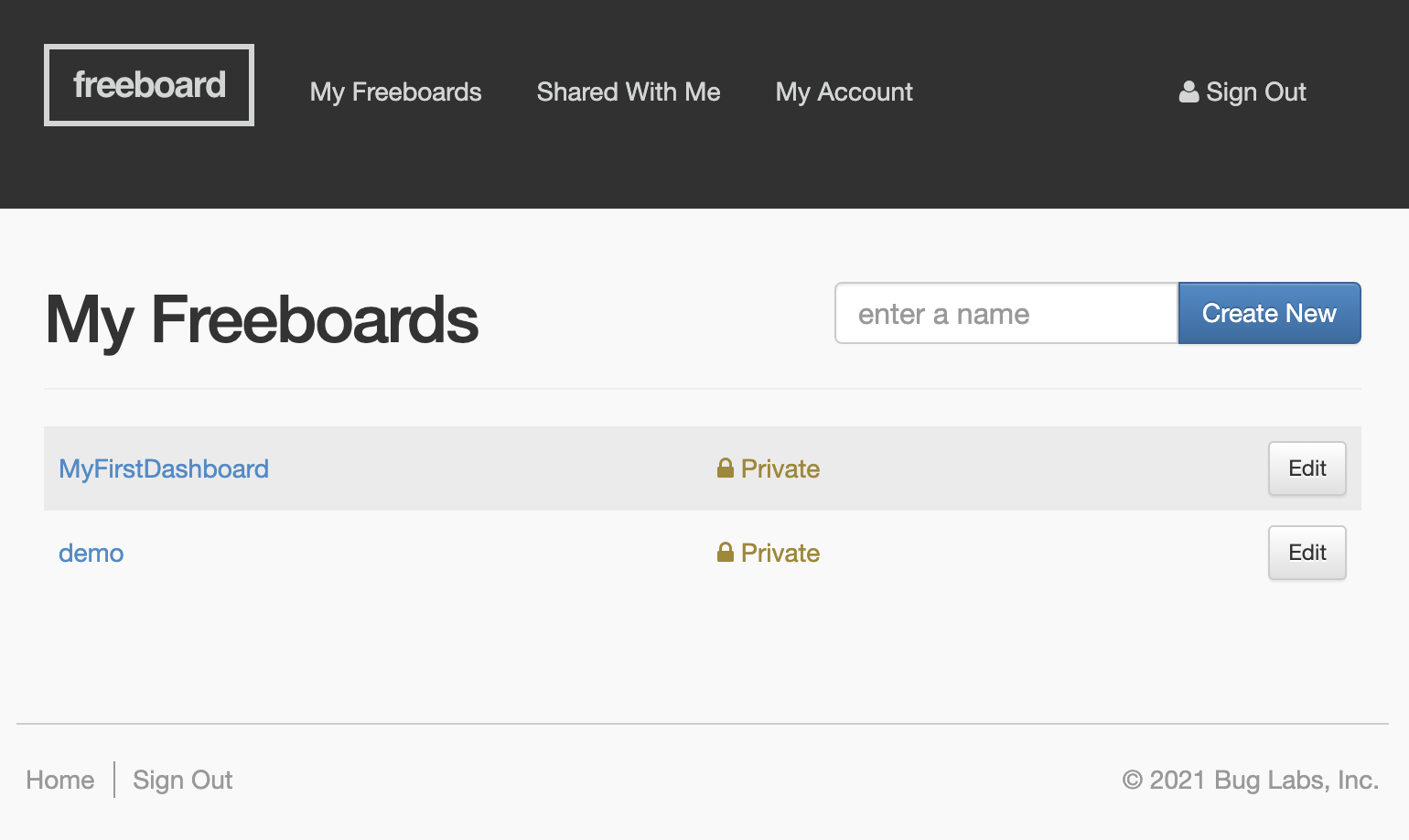 The Freeboard account page